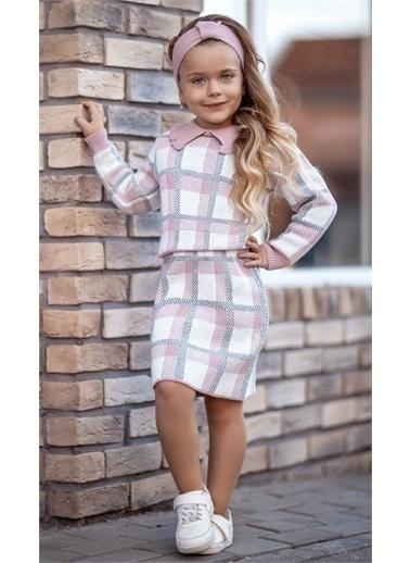 Riccotarz Kız Çocuk Kareli Bebe Yaka 3lü Etekli Takım Renkli